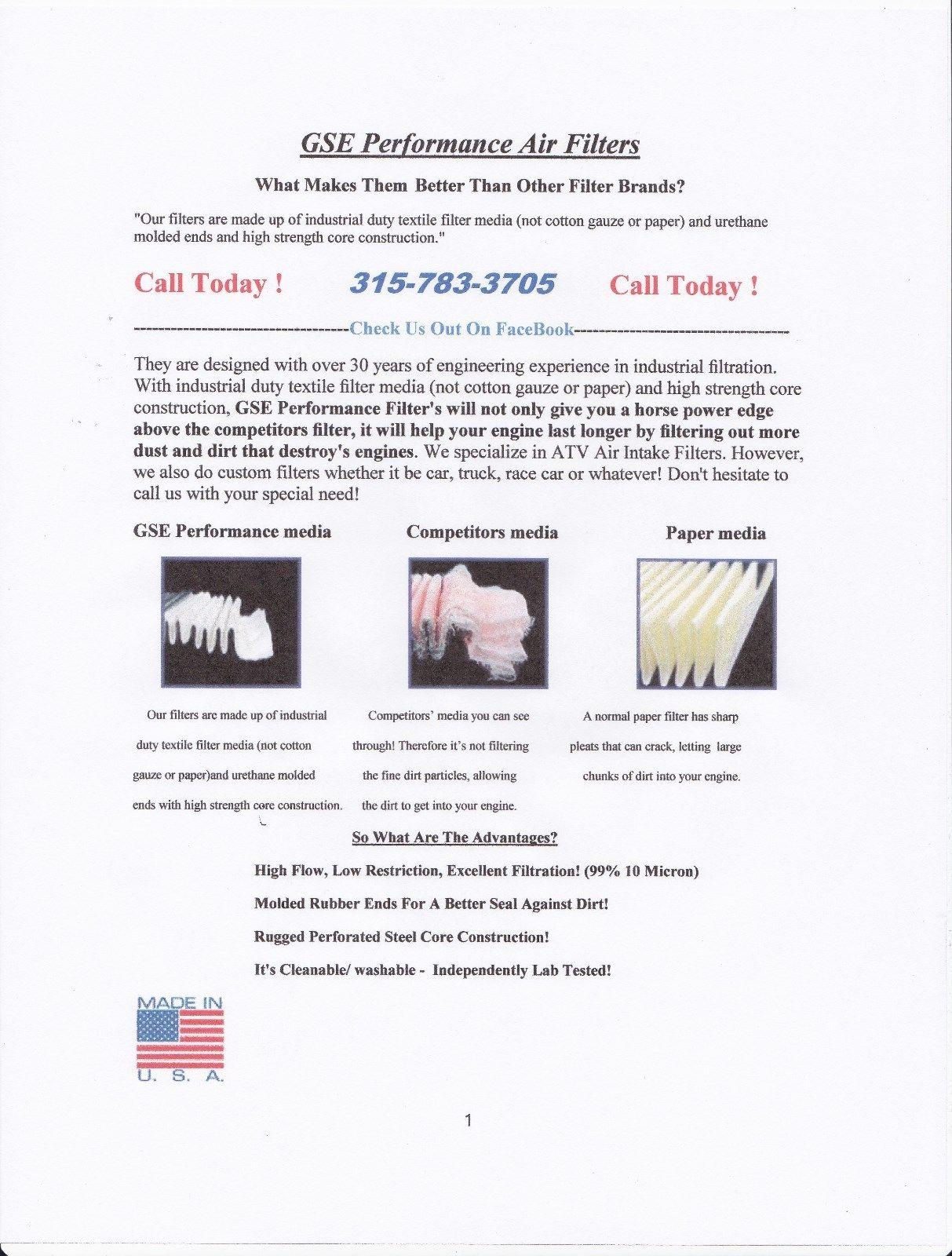 Polaris Sportsman Scrambler Magnum Trail Boss High Flow Air Filter 2003 Wiring Harness Lightbox